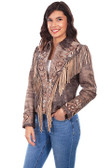 Brown embroidered fringe suede jacket