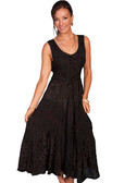 Black Full Length Lace-up Front Sleeveless Dress