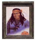 Last Of Teh Hopi Warrior On Canvas Barnwood Frame  Limit Edition S/N
