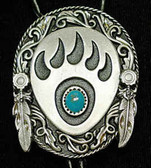 Large Bear Claw Bolo Tie - Turquoise Stone