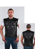 Mens Leather Vest With Skulls