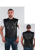Mens Leather Vest With Skulls