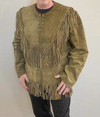 MOUNTAIN MAN ALL FRINGED GREY SUEDE SHIRT