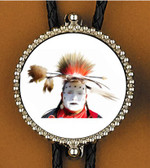 Native Painted War Face Bolo Tie