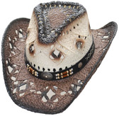 NEW! Straw Cowboy Hat - Pinch Front Dark Brown Brim