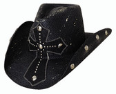 "No Mercy straw cowboy hat by Bullhide® Hats.  BLACK  Pecan.  Brim: 3 3/4""  Available in sizes Small, Med, Large, XL."