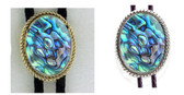 PAUA SHELL BOLO TIES NATURAL LIGHT BLUE ROPE MOUNTING