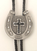 Pewter Horseshoe with Cross Bolo Tie, Black Enamel