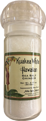 Kuakea White Hawaiian Sea Salt - 3.17 oz. Refillable Grinder