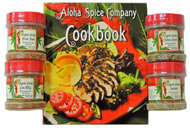 Sampler size spice set with four Organic Seasoning Rubs & Cookbook.   All four rubs come in plastic jars with shaker tops and screw caps.  Four flavors with the book are:   Organic Aloha Prime Steak Organic Aloha Chicken & Pork  Organic Aloha Seafood Organic Aloha Luau BBQ
