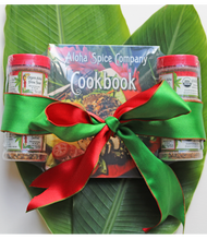 Sampler size spice set with four Organic Seasoning Rubs & Cookbook.  Holiday bow included. All four rubs come in plastic jars with shaker tops and screw caps.  Four flavors with the book are:   Organic Aloha Prime Steak Organic Aloha Chicken & Pork  Organic Aloha Seafood Organic Aloha Luau BBQ Take your grilling to the next level with our Aloha Spice Cookbook, filled with easy to follow recipes using our handcrafted, locally made seasonings and rubs. Made with only with the finest organic ingredients and Hawaiian sea salt, these gourmet rubs are blended in small batches for exceptional flavor. Everything you need for your next tropical BBQ.