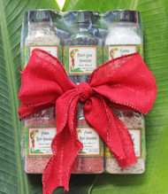 Set of 6 Gourmet Hawaiian Sea Salts - Comes tied with holiday bow! Kiawe Garlic Smoked, Guava Lime Smoked, Red Fine, Red Coarse, White Coarse and Black Lava Great for Salt Rimming Margaritas, Rubs, Marinades or Seasoning anything and everything Makes a great gift or addition to any kitchen or pantry Taste the Aloha in this set of six Aloha Spice Sea Salt Samples. A great addition to any kitchen, these special salts are great for every thing from seasoning your morning eggs, to creating your own rubs and marinades, or topping your fresh baked sourdough bread. Sample sized so you can taste them all, and find your favorites. The perfect gift for the foodies in your life.