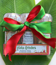 This set includes 3 of our popular grinders, `Alaea Red Coarse Salt, Hawaiian Paradise Grind and Volcano Grind. Holiday ribbon include!  A recipe card is included to make a delicious Volcano Grind crusted chicken and baby greens salad with tropical vinaigrette.