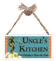 Uncle's Kitchen  Varnished Canvas Sign