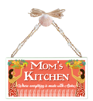 Mom's Kitchen  Varnished Canvas Sign