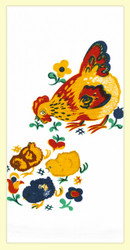 """SKU#512  Distributed by Red & White Kitchen Company. Mama Hen and her chicks would make a great addition to any kitchen. This towel measures 17"""" x 24""""."""