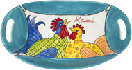"15"" Oval Platter with Handles Whimsical Chickens"