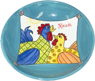 "12"" Pasta Bowl Whimsical Chickens"