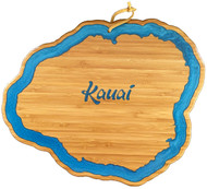 Our Kauai  shaped bamboo cutting & serving board brings a little of that  Aloha State charm into your kitchen. It's crafted from renewable bamboo, so you know it's going to be easy on knives and durable for loads of slicing, chopping and cutting.