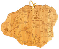 "Destination Kauai-Kauai island cutting board  Celebrate ""The Garden Isle"" with this bamboo serving and cutting board featuring laser-engraved artwork of the neighborhoods that make up the lovely island of Kauai.   Board measures 10-3/8"" x 8-1/4"" x 5/8""."