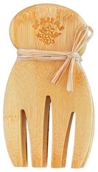 "The easiest tools for tossing and serving salad are your own two hands. But the next best and much less messy alternative is a pair of our natural bamboo salad hands. Toss, mix and serve with ease, while the little button on the back of each 'wrist' keeps the hands from sliding into your bowl. Each hand measures 7"" long x 4"" wide."