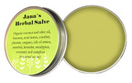 Crafted on Kauai from organically grown plants and herbs from Aloha 'Aina Farms. Jana's Herbal Salve offers medicinal and therapeutic support for various maladies. Users report benefits for eczema, muscle pain, sprains and inflammation. For external use only.   Ingredients: Organic Coconut and Olive Oil, Beeswax, Noni Leaves, Comfrey, Plantain, Oregano, Oils of Eucalyptus, Camphor, Lavender, Rosemary and Arnica.