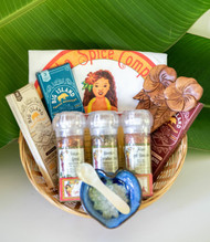 "Gift Basket consists of the following items:  3 pc Aloha Spice Company Grinder Set (Volcano, Paradise & Ala'ea Red Coarse) Big Island Latte Espresso Bites Big Island Classic Espresso Bites Bis Island Red Ala'ea Sea Salt Espresso Bites Little Heart Dish  (colors may vary) Carved Wood Coconut Salad Set MOP salt/spice spoon   *10.5"" Round Gift Basket included*** * Products or items maybe substituted with items of the same value  due to availablity of products. (Aloha Spice Girl Logo not included)"