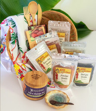 "SKU#GB-4  Gift Basket consists of the following items:  Bamboo Salt Storage Box Hawaii Chocolate-Dark Hawaii Chocolate-Crillo Dark Reusable Bamboo Flatware 3 pc set Lovely Oahu Flour Sack Towel 22""x 22"" Aloha Spice Black Lava Hawaiian salt 4.23oz pouch  Aloha Spice Ala'ea Red Coarse Salt 4.76oz pouch Aloha Spice Ala'ea Red Fine Salt 3.70oz pouch  Aloha Spice Guava Lime Smoked Salt 2.11oz pouch Aloha Spice Kuakea White Salt 4.76oz pouch Aloha Spice Kiawe Smoked Salt 2.11oz pouch wooden salt spoon Little round dish 3.5""(colors may vary)    *10.5"" Round gift basket included** * Products or items maybe substituted with items of the same value  due to availablity of products."