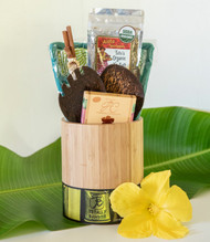 "SKU#GB-5  Gift Basket consists of the following items:  Oval Bamboo Utensil Holder Measures 6"" x 4"" x 7"" Wide Salad Set (fruit/coconut wood) Aloha Spice Tutu's Organic No Salt Rub 2.11oz pouch Large Plumeria Crillo Dark Chocolate 1oz Pair of palm wood chopsticks Island Time 2pc Set (Potholders)  *10.5"" Round Gift Basket included** * Products or items maybe substituted with items of the same value  due to availablity of products."