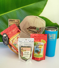 "SKU#GB-6  Gift Basket consists of the following items:  Hydro Flask Tumbler with lid 22oz (assorted colors) Aloha Spice Rooster Cap Khaki Aloha Kauai Morning Blend Ground Coffee 4oz bag Kauai Lele Espresso Chocolate covered Beans 2.75oz Manoa Chocolate Breakfast Bar Coffee Nibs 1.76oz Rooster Magnet Rooster Poop Chocolate covered Caramel Mac Nuts 2.2oz    *10.5""Round Gift Basket included** * Products or items maybe substituted with items of the same value  due to availablity of products."