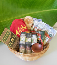 "SKU#GB-8  Gift Basket consists of the following items:  Aloha Spice Co Red Embroidered Apron Kauai Hibiscus Bamboo Rice Paddle Fruit wood Wasabi Bowl Hawaii Chocolate 50% Milk 50% Cacao Chocolate bar 1.76oz Aloha Spice Cookbook Aloha Spice Six Salt set (Guava Smoked, Black Lava, Kuakea White, Red Ala'ea Coarse,Red Ala'ea Fine & Kiawe Smoked) Aloha Spice Organic BBQ Rubs 2oz pouch Aloha Spice Organic Chicken & Pork Rub 2.3oz pouch Aloha Spice Organic Seafood Rub 2.4oz pouch Aloha Spice Organic Steak Rub 2.5oz pouch   *10.5"" Round Gift Basket included** * Products or items maybe substituted with items of the same value  due to availablity of products."