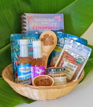 "SKU#GB-9  Gift Basket consists of the following items:  Big Island Bee's Lehua/Cinnamon Honey 9oz jar 2"" Mini Bamboo Bowl Adoboloco Pineapple Hot Sauce 5oz bottle Adoboloco Maui No Ka Oi Hot Sauce 5oz bottle Aloha Spice Organic Steak Rub 2.5oz Kauai Hibiscus Bamboo Rice Paddle Best of Hawaii Cookbook Hawaii's Best Coconut Syrup 4oz pouch Hawaii's Best instant Kulolo Taro Pudding Mix 5oz pouch   *10.5"" Round Gift Basket included** * Products or items maybe substituted with items of the same value  due to availablity of products."