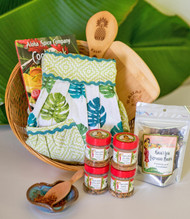 "SKU#GB-10  Gift Basket consists of the following items:  Paradise Hostess Apron Kauai Pineapple Bamboo Rice Paddle Little Heart Dish(colors may vary) Kauai Lele Espresso Chocolate covered Coffee Beans 2.75oz Li'l Fruit wood Spice Scoop Spoon Aloha Spice Cookbook w/4 organic rub samplers (Steak,Seafood,BBQ & Chicken & Pork) .88oz jars 8"" Cutting/ Serving Bar Board Bamboo laser engraved Kauai with Plumeria Flowers  *10.5"" Round Gift Basket included ** * Products or items maybe substituted with items of the same value  due to availablity of products."