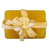 "SKU#226  ""MADE ON KAUAI""  Banana Soap-3.8oz  Banana Soap is made with Organic Coconut oil and glycerine and scented with Tangerine and Litsea essential oils to smell like fresh bananas.  With a touch of Pikake to remind you of the tropics and include tiny guava seeds from Kauai for gentle exfoliation."