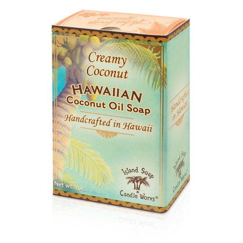 SKU 197  Creamy Coconut Oil Soap 2 oz. MADE ON KAUAI  Ingredients:  Saponified coconut and palm oil - natural colors - fragrance  Individually boxed 2 oz. Coconut and Palm oil soap in a creamy coconut fragrance.