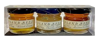 SKU #22  Ingredients: 100% Pure Organic Hawaiian Honey   A adorable set of three amenity sized jars of Hawaiian honey. Included in each set is one of each Big Island Bees Hawaiian honey varieties: Lehua honey, Macadamia Nut Blossom honey and Wilelaiki honey.   Jar size: 1 oz glass jar