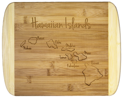 """SKU#6932  Hawaiian Islands Bamboo Cutting Board  Celebrate The Hawaiian Islands with this bamboo serving and cutting board featuring laser-engraved artwork of the Hawaiian Island Chain - features light bamboo accents on the left and right sides of the cutting board.   Board measures 8-1/2"""""""" x 11"""" x 5/8"""""""
