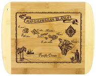 "SKU#6094  Vintage Hawaiian Map Bamboo Cutting Board  Celebrate The Hawaiian Islands with this bamboo serving and cutting board featuring laser-engraved vintage artwork of the Hawaiian Islands - features light bamboo accents on the left and right sides of the cutting board.   Board measures 8-1/2"""" x 11"" x 5/8"""