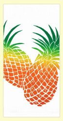 Hand screen printed by Hawaii artist Janet Holaday on Oahu, Hawaii. This beautifully colored pineapple pair towel is printed on 100% cotton using environmentally friendly inks. Makes a great addition to any kitchen!