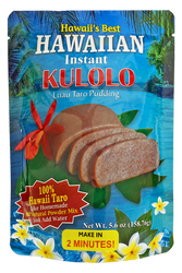 SKU#2411  Size: 5.6oz package  Ingredients: Hawaii Taro, Coconut, Cane Sugar, Cornstarch, Maltodextrin, Sodium Caseinate and salt.  This easy to prepare instant mix requires no extra ingredients, just add water and it is ready in 2 minutes. (Microwave)  Made in Hawai'i with 100% Hawaii Taro! One of the favorite desserts served at lu'aus. Fudge like consistency.