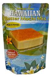 "SKU#2412  Size: 15oz package  Ingredients: Sweet Rice Flour(Mochiko), Cane Sugar, Coconut Powder, Baking Powder, Cornstarch, Matlodextrin(From Corn)Soduim Caseinate, Vanilla Powder  (Dextrose & Vanilla Bean Extractives).     One of Hawaii's Favorite Island Dessert - Hawaiian Butter Mochi is a local Hawaiian treat made with sweet rice flour, butter, eggs, coconut milk . This easy to prepare mix has all the dry ingredients ready for you  just add water, eggs, and butter. This mix will make a 8"" x 8"" Pan .   This product is Gluten Free!"