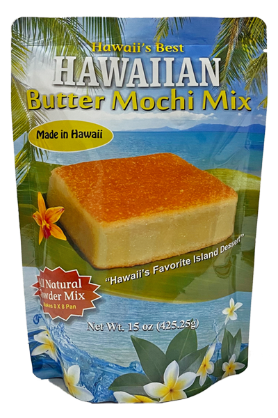 """SKU#2412  Size: 15oz package  Ingredients: Sweet Rice Flour(Mochiko), Cane Sugar, Coconut Powder, Baking Powder, Cornstarch, Matlodextrin(From Corn)Soduim Caseinate, Vanilla Powder  (Dextrose & Vanilla Bean Extractives).     One of Hawaii's Favorite Island Dessert - Hawaiian Butter Mochi is a local Hawaiian treat made with sweet rice flour, butter, eggs, coconut milk . This easy to prepare mix has all the dry ingredients ready for you  just add water, eggs, and butter. This mix will make a 8"""" x 8"""" Pan .   This product is Gluten Free!"""