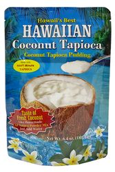 SKU#704  Size: 6.4 oz package  Ingredients:, Cane Sugar, Coconut Powder, Baking Powder, Cornstarch, Pre Cooked Tapioca, Matlodextrin, Soduim Caseinate, Salt, Soy Lecithin.  Made with kraft minute tapioca. Like Homemade Just Add water! Hawaii's Best Coconut Tapioca Pudding  powdered mix  comes with recipes on the back like Coconut Chocolate Tapioca Pudding, Okinawan Sweet Potato Coconut Tapioca Pudding and Coconut Tapioca Pudding Fruit Cups! Surely a treat your family will enjoy served warm or chilled.