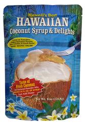 SKU#249  Size: 8 oz package  Ingredients:, Cane Sugar, Coconut Powder, Baking Powder, Cornstarch, , Matlodextrin, Soduim Caseinate & Salt.  Hawaii's Best Hawaiian Coconut Syrup & Delights is great on pancakes and much more! Easy, all natural powder mix with the taste of fresh coconut, just add water! Makes 20 Fl oz of syrup. Makes a perfect syrup for bar and home drinks. Great for Pina Coladas!  Can also be used to make Haupia Pudding Squares(recipe on the back of package)