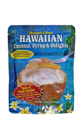 SKU#250  Size: 4 oz package  Ingredients:, Cane Sugar, Coconut Powder, Baking Powder, Cornstarch, , Matlodextrin, Soduim Caseinate & Salt.  Hawaii's Best Hawaiian Coconut Syrup & Delights is great on pancakes and much more! Easy, all natural powder mix with the taste of fresh coconut, just add water! Makes 10 Fl oz of syrup. Makes a perfect syrup for bar and home drinks. Great for Pina Coladas!  Can also be used to make Haupia Pudding Squares(recipe on the back of package)