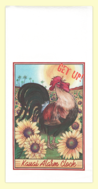 Get up Kauai Rooster. The artwork for this towel is by Kauai artist, Joanna Carolan. Measures 18 in x 24 in, 100% cotton. Printed in the USA.