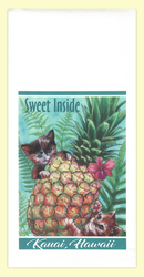 Sweet Inside Kitties and Pineapples. The artwork for this towel is by Kauai artist, Joanna Carolan. Measures 18 in x 24 in, 100% cotton. Printed in the USA.