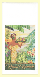 Tropical Banana Girl. The artwork for this towel is by Kauai artist, Joanna Carolan. Measures 18 in x 24 in, 100% cotton. Printed in the USA.