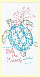 "Sea Turtle ""Ride the Waves"" embroidered flour sack towel makes a great addition to any home. This towel is embroidered on 100% cotton flour sack and measures 17"" x 28."""