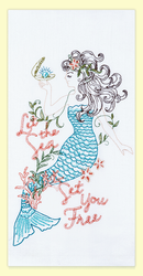 "Mermaid ""Let the Sea Set You Free"" embroidered flour sack towel makes a great addition to any home. This towel is embroidered on 100% cotton flour sack and measures 17"" x 28."""